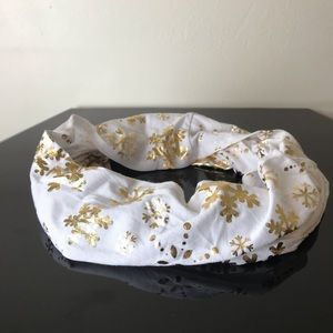 White with Gold Snowflake Infinity Scarf